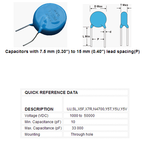 Hvc Capacitor High Voltage Ceramic Disc Capacitor 1kv To